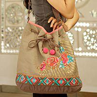 Cotton shoulder bag, Tribal Rose Trio