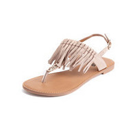 Fringe Chain T-Strap Sandal: Charlotte Russe