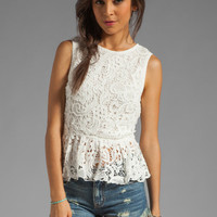 Dolce Vita Anja Scroll Lace Blouse in White from REVOLVEclothing.com