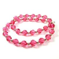 Bright pink 15 in crystal choker fully beaded sterling silver dressy