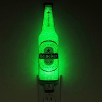 12oz Heineken Beer Bottle Accent Lamp Night Light with Shade Bar Man Cave by BodaciousBottles