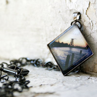 Bridge after Sunset Photo Jewelry Necklace Pendant, Gunmetal Black Diamond Nautical Wearable Art