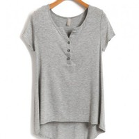 Grey Cotton Blended V Neckline T-shirt with High Low Hem