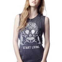 Start Living Sugar Skull Destroyed Muscle Tank Top - Jawbreaking