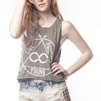 Live Forever Young Cut Crop Tank - Jawbreaking