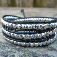 Beaded Leather Wrap Bracelet 3 Wrap with Silver Czech Glass Beads on Blue Leather 3 Wrap