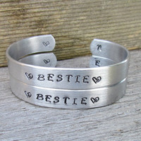 Set of 2 Bracelets BESTIE Hand Stamped BFF Best Friends Cuff Personalized INITIAL On Inside Edge