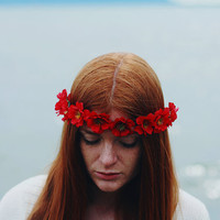Lady Madonna - Flower Crown / Floral Crown / Flower Halo / Flower Headband / Festival Wear / Red Wild Rose / Spring Fashions