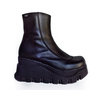 90&#x27;s Vintage Chunky Black Leather Platform Wedge Boots // 7.5