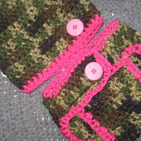 Pink Camo Little Hunting Girl Camo Baby Diaper Cover and Baby Hat   3-6  months Baby Shower