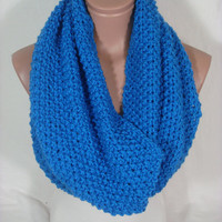 Hand Knitted Hooded Cowl/Scarf/Neck Warmer/Loop Scarf (Blue) by Arzu&#x27;s Style