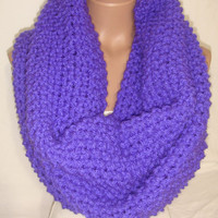 Knitted Loop Scarf, Hooded, Extra Large, Wool, Cowl/Scarf/Neck warmer (Phosphoric Purple) christmas, gift by Arzu&#x27;s Style
