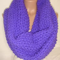 Knitted Loop Scarf, Hooded, Extra Large, Wool, Cowl/Scarf/Neck warmer (Phosphoric Purple) christmas, gift by Arzu's Style
