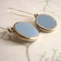 Dusk blue resin dangle earrings jewelry , round silver hanging resin earring jewellery , blue earrings , blue jewelry handmade earrings