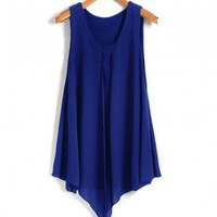 Asymmetric Chiffon Tank Top in Blue