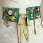 Belt leather waist belt, steampunk belt, women sash, collar mint yellow whimsical, steampunk sash leather collar industrial chic accessories