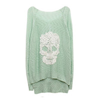 Mint Lace Batwing Knit With Skull Motif from FloralKiss