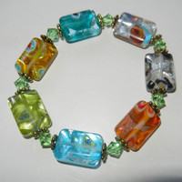Colorful Millefiori Glass Beaded Bracelet