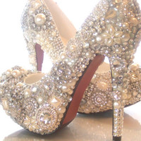 CINDERELLAS WISH CRYSTAL, GLASS AND PEARL COVERED HIGH HEELS. WEDDING BESPOKE CUSTOM