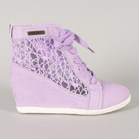 Celena-06 Mesh Round Toe Lace Up Wedge Sneaker