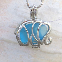 Caribbean Blue Sea Glass Elephant Locket Necklace