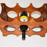 Vintage Wooden Wine Rack Stackable Wooden Wine Storage Rack Danish Modern Wine Rack