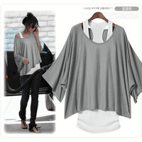 Grey Bat Sleeve Loose Fashion T-shirt Vest