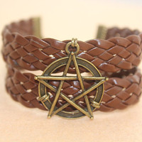 Supernatural inspiron--Pentagram pendant,Pentacle bracelet, antique bronze charm bracelet,brown leather bracelet,personalized gift