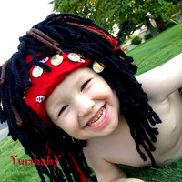 Pirate Wig Boy Halloween Costume 2T 3T Pirates of the Caribbean Inspired Headpeice Costume Wig Boy Costume Wig Boy Photo Prop Pirate Hat