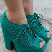 Chunky Wedge Platforms - Jade Green from Fashion Thirsty