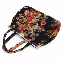 Tapestry Handbag, 1960s Purses,  Boho Chic,  Black Floral Vintage Bag, Red / Yellow / Pink / Turquoise