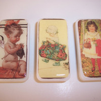 Set of 3 Vintage Image Domino Magnets Knit by KimsCraftyCreations