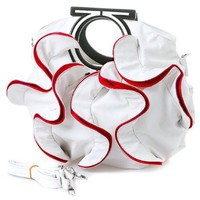 Stylish White, Vibrant Red Large Ruffle Double Handle Satchel Hobo Handbag w/Shoulder Strap