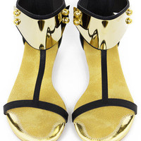 GOLD PLATED SANDAL - Black