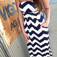 Navy Slinky Zig Zag Maxi | The Rage
