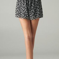 Black Chiffon Skull Shorts