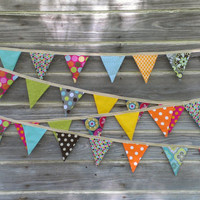 Fabric Bunting, Flag Banner, Garland Bunting, Photo Prop, Party Decor, Multicolor
