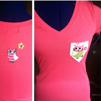 V neck owl pocket Tee by AngeliqueMerici on Etsy