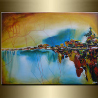 ORIGINAL LANDSCAPE abstract PAINTINGacrylic on canvas by nataera