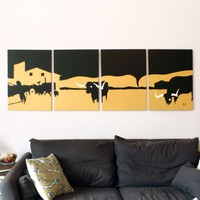 Longhorn Paintings in Orange, White, & Black 18 x 24 (Set of 4)