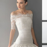 Glamorous half sleeve ball gown floor-length wedding dress style 0bg00420 - $402| wedding-dress-bee.net