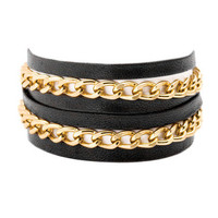 Black Leather & Chain Double Wrap Bracelet by Gorjana brought to you by Gilt