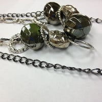 Necklace Earring Set, Long Dark Green Silver Black Large Chunky Large Toggle Clasp Easy on Easy offOOAK