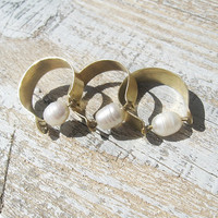 Brass ring with pearls Rustic jewelry