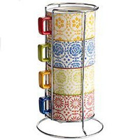 Floral Coffee Cups with Stand