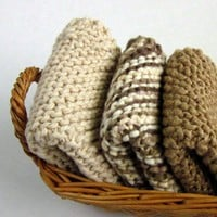 Knit Dish Cloth Set Three Cotton Coffee Cream Retro Dishcloths | EweniqueEssentials - Knitting on ArtFire