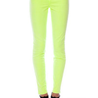 "J Brand 11"" Mid-Rise Neon Skinny Jeans in Neon Yellow :: tobi"