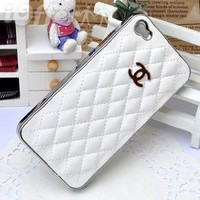 Luxury Designer White leather Chrome Frame Hard Cover Case for Iphone 4/4s White Iphone 4/4s
