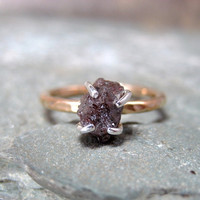 Uncut Rough Diamond Solitaire and 14K Gold Filled by ASecondTime
