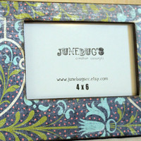 4x6 Decoupage Photo Frame Blue Green Floral